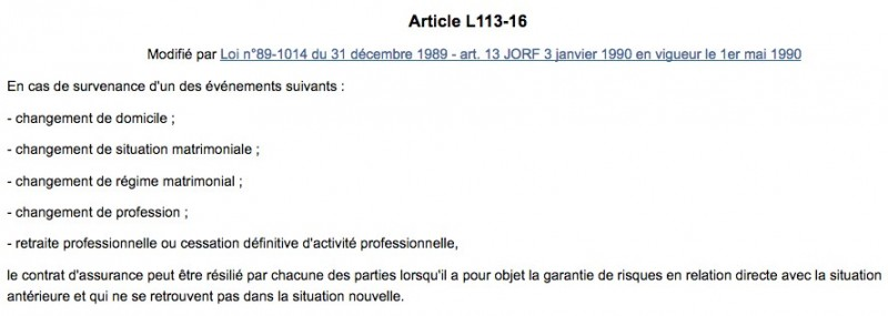 article L113-16 du Code des assurances