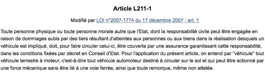 article L211-1 du Code des assurances